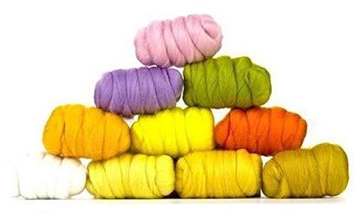 Paradise Fibers Tasche aus Merinowolle – Osterhase (mehrfarbig) – Merinowolle, ideal für Nadelfilzen, Nassfilzen, Handdrehen und Verblenden