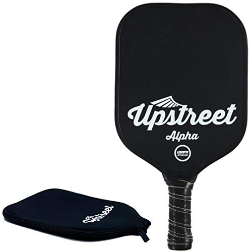 Upstreet Graphite Pickleball Paddle - Polypro Honeycomb Composite Core - Paddles Include Racket Cover (Black)