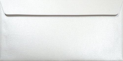 25 Perlmutt- Weiße DL DIN Lang Briefumschläge 120g, 110x220mm, Majestic Marble White, gerade Klappe, ideal für Hochzeit, Geburtstag, Taufe,Weihnachten, Einladungen, Gelegenheitskarten, Briefkarten