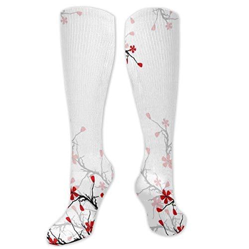 Drempad Beautiful Flowering Cherry Calcetines de Vestir Divertidos Unisex Crew Socks Calcetines Largos 50CM