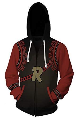 Unisex Kirishima Eijiro Hoodies Sweatshirt Cosplay Costume Zip-up Jacket (X-Large, Red)