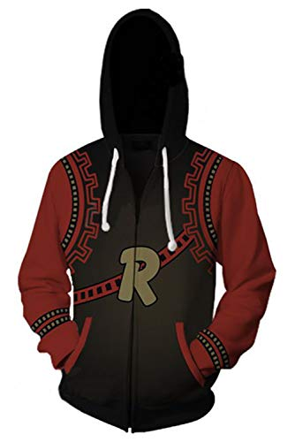 Unisex Kirishima Eijiro Hoodies Sweatshirt Cosplay Costume Zip-up Jacket (Large, Red)