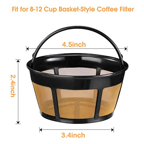 Reusable Coffee Filter, 4 Pack Basket Coffee Filters 8-12 Cup Replacement.