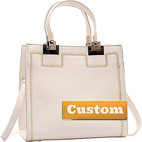 Nombre Personalizado Bolsos de Satchel para Mujeres Bolsos de Cuero Suave Bolsos de Cuero Grandes (Color : White, Size : One Size)
