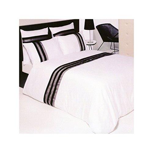 Drap House Housse de Couette Satin plissée 240x260 + 2 taies 65x65 - Couleur: Blanc-Noir-Gris