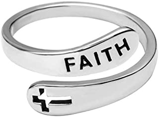 Faith Cross Sterling Silver Open Statement Rings Adjustable Minimalist Eternity Wedding Band Fashion Ring for Women Girls Men