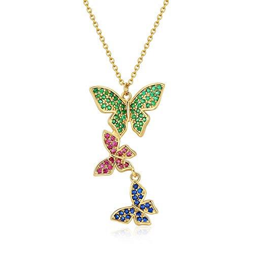 Qings Tre Farfalle Collana da Donna 14K Placcata in Oro Regolabile con Ciondolo Farfalla Colorato in Zirconi per Donne e Ragazze