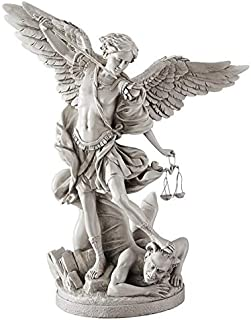Design Toscano St. Michael the Archangel Religious Statue, Gallery, 17 Inch, Polyresin, Antique Stone