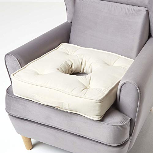 HOMESCAPES Cream Armchair Orthopaedic Booster Cushion Large Firm 50 cm Square Seat Pad with Supportive 10 cm Thick Lift Soft Cotton Cushion For Elderly, Post-Operative and Pregnancy