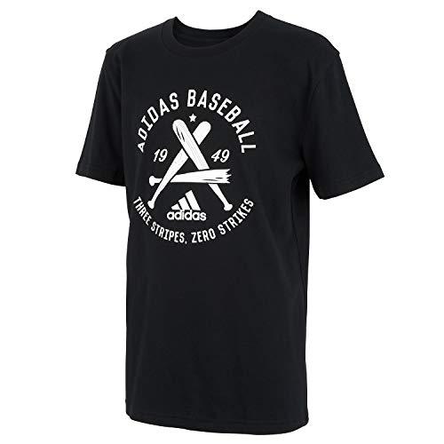 adidas Boys' Little Kids Short Sleeve Cotton Jersey Graphic T-Shirt, Baseball Black, 7