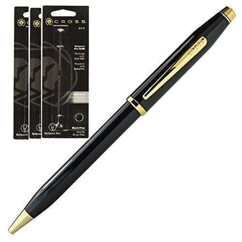 CROSS【クロス】 ボールペン センチュリー�U 412WG-1 ブラックラッカー 替え芯 8514 F 黒 × 3本 セット