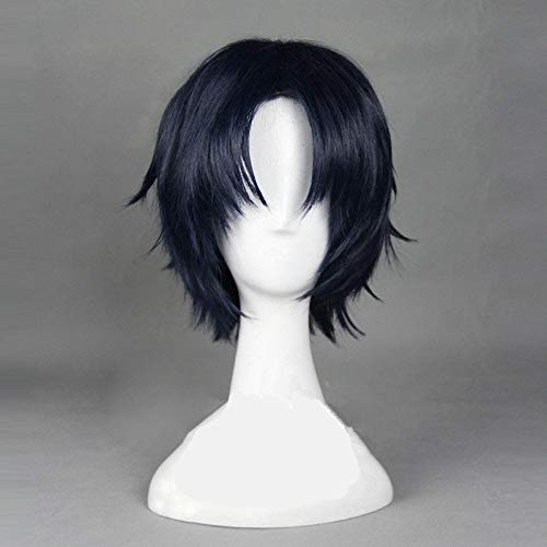 Seraph of The End Guren Ichinose 30cm Short Straight Navy Blue Cosplay Wig High Quality Heat Resistant Synthetic Hair Wig