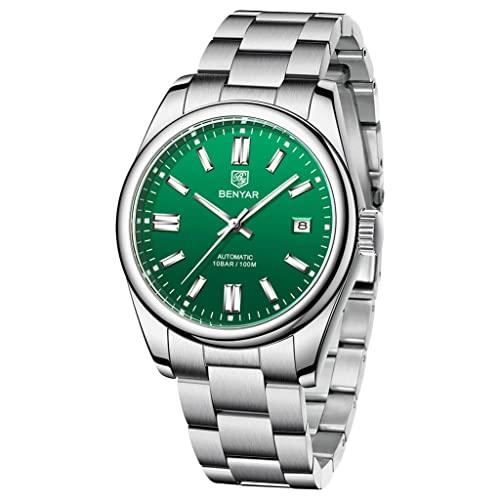 BENYAR Casual Minimalista Hombres Relojes Automáticos Stianless Acero Impermeable Luminoso Moda Vestido Mecánico Reloj, verde,
