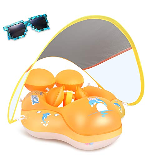 LAYCOL Baby Swimming Float with Sun Canopy Over UPF50+ , Baby Floats for Pool Add Tail Never Flip Over (Yellow, L)