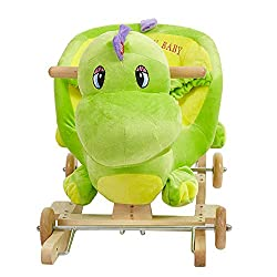 4. Lucky Tree 2-in-1 Wooden Plush Dinosaur Rocker Ride-On Stroller