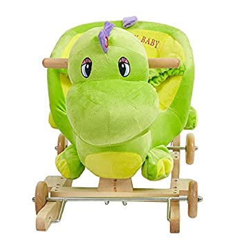 Lucky Tree 2-in-1 Wooden Plush Dinosaur Rocker Ride-On Stroller