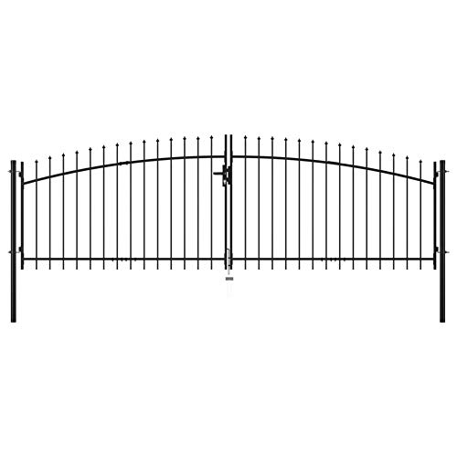 Garden Fence Double Door Gate with Spear Top,Steel with Powder-Coated Finish 400x175 cm Black,Distance Between Two Posts: 400 cm,Post Height: 150 cm,Against Rust and Corrosion,by BIGTO(3 Keys)
