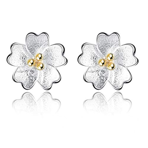 HUGJOU 925 Pendientes De Plata Esterlina Gold Center Sweet Cheery Flower For Women Girl Sude Earrings Brincos