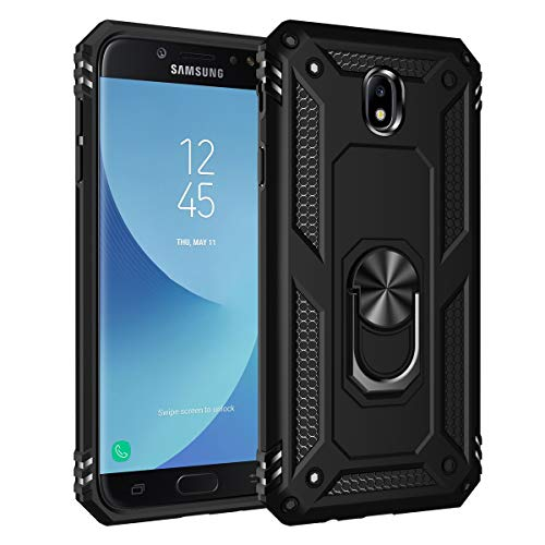 UBERANT Capa para Galaxy J7 2017, TPU macio e policarbonato rígido 2 em 1 com suporte de anel e capa protetora de metal à prova de choque para Samsung Galaxy J7 2017 / J7 Pro / J730 - Preta