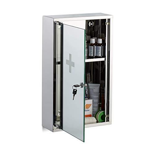 Relaxdays, zilveren medicijnkastje van roestvrij staal, afsluitbare spiegeldeur, 2 vakken, medicijnkast, h x b x d: 50 x 30 x 11 cm