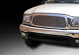 ShopDone Fits 01-04 Toyota Tacoma 1Pc Upper Cover 3 Holes Replacement Upper 1PC Horizontal Billet Polished Aluminum Grille Grill Inser