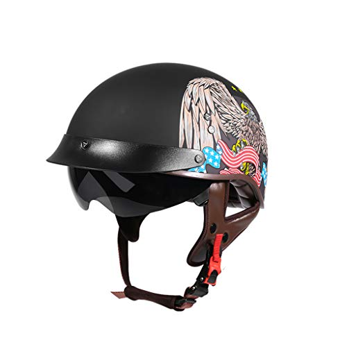 GAOZHE Half-Helmet Abierto Vintage Adultos Casco Moto,Vintage Classic Abierto Cascos Half-Helmet,con Visera,Dot Approved,Profesional Moto Jet Cascos,para Mujer y Hombre Street Bike Cruiser Chopper