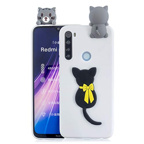 SEEYA Funda Silicona 3D para Xiaomi Redmi Note 8T Case Blanca Dibujo Gato Carcasas y Fundas para móviles Suave Flexible Delgado Bumper Diseño Kawaii Animados Caso Blando Bonitas