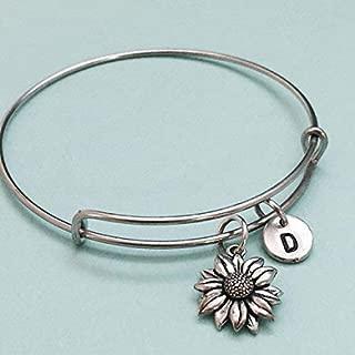 Sunflower bangle, sunflower bracelet, sunflower charm, personalized necklace, expandable bangle, charm bangle, initial bracelet, monogram, flower charm