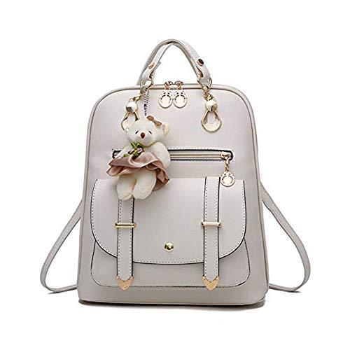 Mini Babala School Taschen Rucksack Frauen Handtaschen Reisetasche Satchel Metall Mode PU-Leder, off white