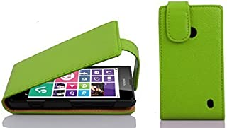 Cadorabo Case Works with Nokia Lumia 630/635 in Apple Green – Flip Style Case Made of Structured Faux Leather – Wallet Etui Cover Pouch PU Leather Flip