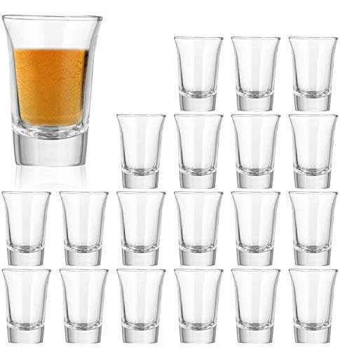 1.2 Ounce Heavy Base Shot Glass Set,QAPPDA Whisky Shot Glasses 1.2 oz,Mini Glass Cups For liqueur,Double Side Cordial Glasses,Tequila Cups Small Glass Shot Cups Set Of 20 KTY1501……