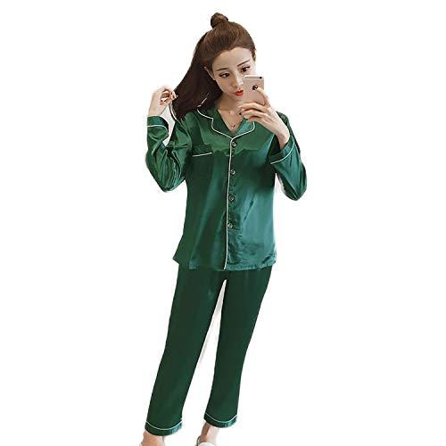 Women Silk Pajama Sets Satin Pyjama Sleepwear Long...