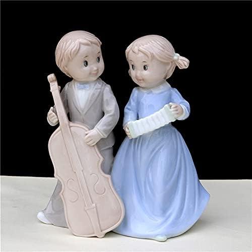 Porcelain sale Popular overseas Music Couple Figurine Ensemble Ceramic Lovers Miniatur