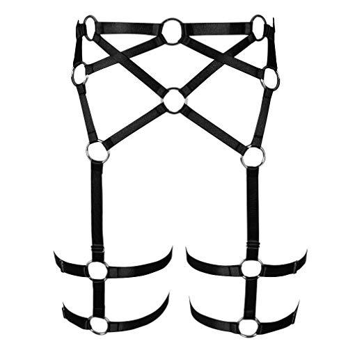 Damen Strappy Leg Harness Strumpfgürtel verstellbar hohe Taille Strümpfe Strapser Dance Gr. One size, Schwarz