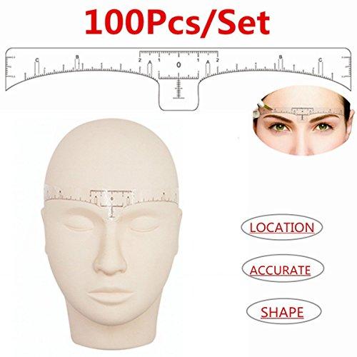 Essort Einweg-Augenbrauenklebeschablonen und Linealführung für das Make-up-Tool (100er-Pack) Packung von 100