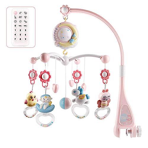 Moonvvin Baby Mobile para cunas con música, cuna móvil con luz nocturna y proyector, control remoto y juguete para empacar y jugar (Rosado)