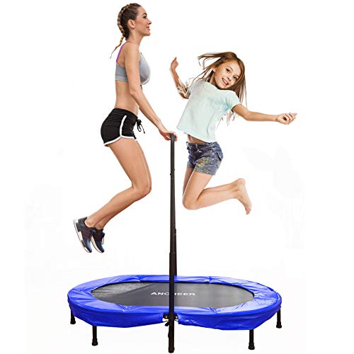 ANCHEER Trampoline for Two Kids, Max Load 100kg, Includes Handle & 5 Height Settings, Stainless Steel Springs, Folding Trampoline for Children/Toddler, Indoor & Outdoor Exercise, 143cm x 91cm x 17cm