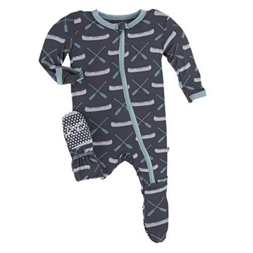 KicKee Pants Print Footie with Zipper, Fitting Long Sleeve Pajama Baby Bodysuit, Ultra Soft Everyday One Piece Loungewear, Baby Clothes for Boys and Girls (Stone Paddles and Canoe - 3-6 Months)