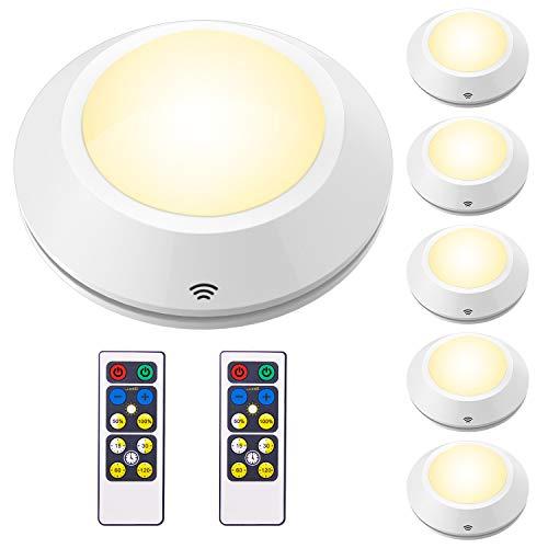 Luz LED de Armario/luz para pared HONWELL 6pcs wireless Lámpara de noche gabinete AA Pilas con Mando se Adhieren en Armario de Cocina, Guardarropa, Estantería, Bodega