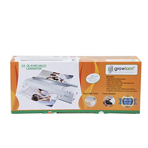 Growlam A3 GL-P490 Multi Laminator with Heavy Duty Paper Cutter with Cutter Lock