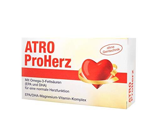 ATRO ProHerz, zur Unterstützung der normalen Herzfunktion, mit Omega-3-Fettsäuren, DHA- und EPA-Magnesium-Vitamin-Komplex, 2-Monatspackung, Täglich eine Kapsel