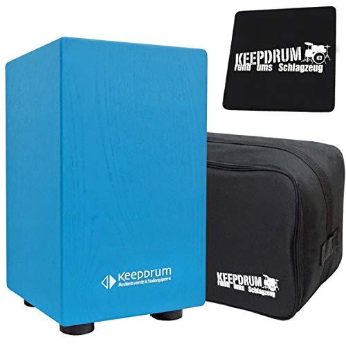 keepdrum DC1M Junior Cajon für Kinder Trommel-Hocker Blau +Tache + Sitzpad