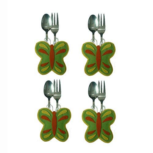 Luccase 4 Stück Butterfly Besteckbeutel Kit 9 x 8,5 cm Kreative Vlies Ostern Schmetterling Besteck Tasche Messer Löffel Gabel Tasche für Küche Hause Esszimmer Bar Ostertafel
