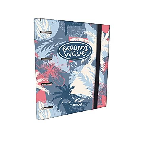 Ocean's Wave - Archivador 4 Anillas con Recambio Y Goma. Recambio Hojas...