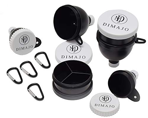 Dimajo Pack of Protein Powder Funnels- Water Bottle Funnels for Supplements with Carabiners- Portable Protein Funnel Containers for Fitness, Travel, Gym, Yoga, Workouts-Pack of 4