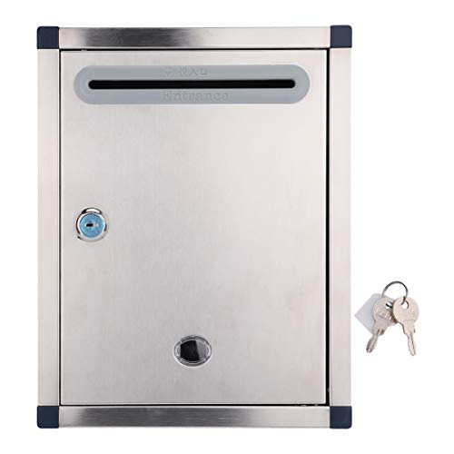 Kisangel Modern Wall Mount Lockable Mailbox Outdoor Metal Key Large Capacity Rural Home Decorative Office Business Parcel Box Packages Drop Slot Secure Lock