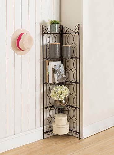 Kings Brand Furniture Brushed Copper Metal 5 Tier Shelf Corner Rack Unit