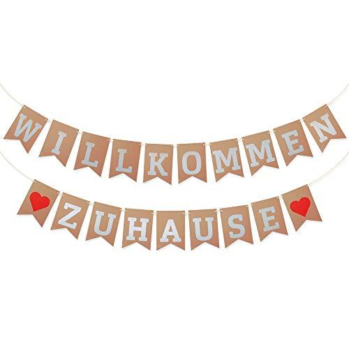 MEJOSER 5 Meter Willkommen Zuhause Girlande Wimpelkette für Dekoration Familie Partei Welcome Home Banner Hochzeit Photo Booth Props