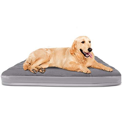 Cama grande para perros grandes, medianos y pequeños, 39/47 pulgadas, alfombrilla de espuma suave para mascotas, lavable y antideslizante, con funda extraíble más gruesa, color gris