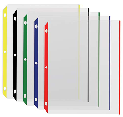 Color Edge Sheet Protectors, 100/Box, by Better Office Products, Color Coded Edges, 8.5 x 11 Inches, 5 Assorted Colors, 100 Pack